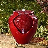 Peaktop Outdoor/Indoor Garden Water Glazed Pot Floor Fountain With LED Light, 17' Height, Red