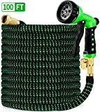 HBlife 100ft Garden Hose, All New 2020 Expandable Water Hose with 3/4' Solid Brass Fittings, Extra Strength Fabric - Flexible Expanding Hose with Free Water Spray Nozzle