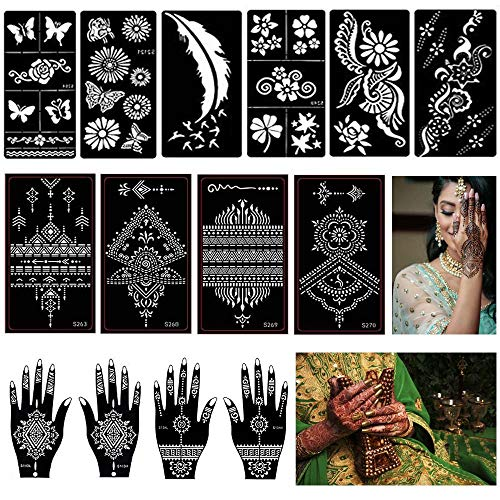 14 Hojas Henna Tatuajes Temporales Plantillas, Mehndi Templo