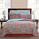 Jacquard Style Quilt Set Paisley 3-Piece Patchwork Coverlet Set 100% Cotton King