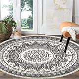 HEBE 4 Ft Cotton Rugs Round Washable Chic Bohemian Mandala Hand Woven Round Rugs with Tassels Indoor Throw Area Rug for Living Room Kids Room