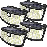 Aootek solar lights 120 Leds with lights reflector,270° Wide Angle, IP65 Waterproof, Security Lights for Front Door, Yard, Garage, Deck(4pack)