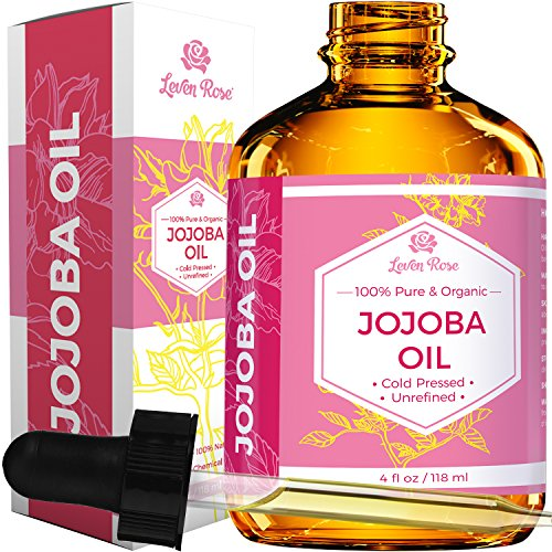 Jojoba Oil by Leven Rose, Pure Cold Pressed Natural Unrefined Moisturizer for Skin Hair Body and Nails 4 oz