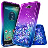 NageBee Droid Turbo Case, Glitter Liquid Quicksand Waterfall Floating Flowing Sparkle Shiny Bling Diamond Shockproof Girls Cute Case for Moto Droid Turbo XT1254 (Purple/Blue)