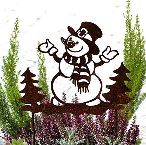 LB H&F Lilienburg Weihnachtsdeko Roststecker Rost Metall wetterfest (Schneemann NEO)