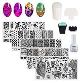 AIMEILI Nail Art Stamping Templates Manicure Tool Kit, 5pcs Nail Stamping Plates, 1 Latex Peel Off Tape, 2 Stamper, 2 Scraper