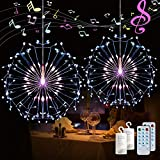 Auelife Firework String Lights,120 LED 4 Sounds 8 Mode Starburst Lights with Remote Control,Waterproof String Lights Battery Operated for Living Room,Bedroom,Party,Wedding Decoration (2pc,Multicolor)