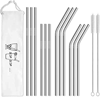 Hiware 12-Pack Reusable Stainless Steel Metal Straws with Case – Long Drinking..