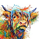 Qingsb coloré Vache décoratifs sur toile Peinture murale Salon Chambre à...