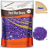 Hard Wax Beans for Painless Hair Removal, Brazilian Waxing for Face, Eyebrow, Back, Chest, Bikini Areas, Legs At Home 300g (10 Oz)/bag with 20pcs Wax Spatulas (Lavander)
