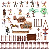 Liberty Imports Wild West Cowboys and Native American Indians Plastic Figure Soldiers Toys Bucket Playset