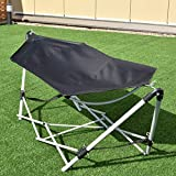 Giantex Portable Hammock with Stand-Folds, Lounge Camping Bed Folding with Carry Bag for Camping Outdoor Patio Yard Beach, 94.5' x 31.5' x 29'(Black)