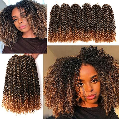 6 Small Packs Marlybob Crochet Hair 12 Inch Long Bob Style Kinky Curly Synthetic Crochet Braids Hair Extension (1B/27#)