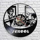 fdgdfgd Clásico Disco CD Escuela Creativa Paternidad Colgante de Pared Arte Decoración Reloj Maestro y Estudiante Reloj de Pared de Vinilo 3D | Sorpresa Antes de Navidad
