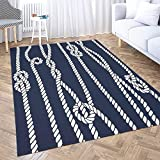 Dethel Extra Large Area Rug Modern Farmhouse Area Rug 5X7 Marine Rope Knot Navy White Ornament Nautical Knots Dark for Home Décor,Indoor,Living,Dining Room Kids Play Area Rug