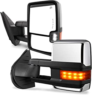 YITAMOTOR Towing Mirrors Compatible with Chevy GMC, Power Heated LED Arrow Signal Light..