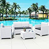 Tangkula 4-Piece Patio Furniture Set, Made in Italy Outdoor Wicker Conversation Set w/Removable Cushion Sectional Sofa Set, for Backyard Porch Garden Poolside Balcony (White)