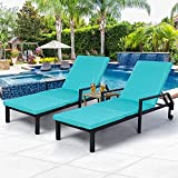 AECOJOY Adjustable Outdoor Chaise Lounge Chair Rattan Wicker Patio Lounge Chair Set of 2, for Outdoor Patio Beach Pool Backyard Lounge Chairs with Cushion and Wheels,Black