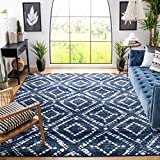 Safavieh Adirondack Collection ADR131N Modern Diamond Distressed Non-Shedding Stain Resistant Living Room Bedroom Area Rug, 8' x 10', Navy / Ivory