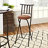 Mainstays Slat Back Folding 30' Bronze Barstool with dark bronze metal finish and plush microfiber cushion makes for a seamless integration into a wide-range of decor, Beige (1)