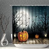 AMNYSF Halloween Decor Shower Curtain Pumpkin Lanterns on Rustic Wood Borad Dark Forest Moon Bats Fabric Bathroom Curtains,70x70 Inch Waterproof Polyester with Hooks