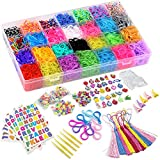 DasKid 12,000+ Rainbow Rubber Bands Refill Set 11,000+ Loom Bands 42 Colors 600 Clips 200 Beads + 52 ABC Beads 30 Charms 10 Backpack Hooks 10 Tassels 5 Crochet Hooks 5 Hair Clips ABC & Number Stickers