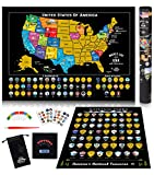Scratch Off Map of United States + US National Parks Scratch Off Poster, 85 USA Landmarks, Travel Map Kit, 50 State Photo Wall Adventure Maps, Journal Gifts for Travelers Set by Bright Standards