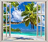 Stickersnews - Sticker fenêtre trompe l oeil Plage palmier réf 5441...