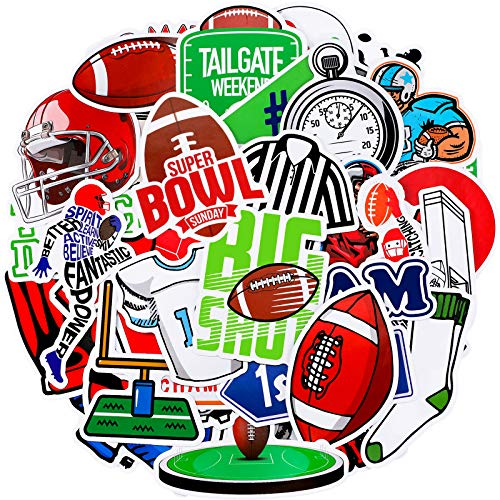 100 Pieces Football Stickers Waterproof Vinyl Sports Stickers Laptop Football Decals Cute Football Game Stickers Set for Water Bottle, Laptop, Phone, Computer, Luggage