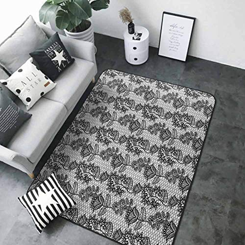 Rest room Carpet Black and White,Lace Model Victorian Flower Motifs on Wavy Backdrop Western Ladies Sample, Black White 80″x 120″ Non-Slip Space Rug Pad