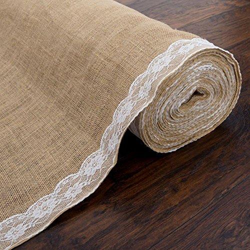 LinenTablecloth 100 ft. x 3 ft. Wedding Aisle Runner Lace Burlap
