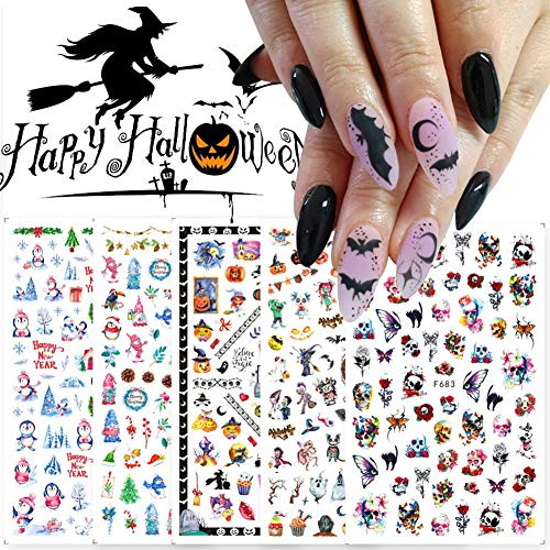 Halloween Christmas Nail Art Stickers Decals 3D Self-Adhesive Snow Skull Ghost Pumpkin Designs Nail Foils for Nail Arts Colorful Nail Decoration Accessories Kits Finger Toe Manicure Tips(5 Sheets)