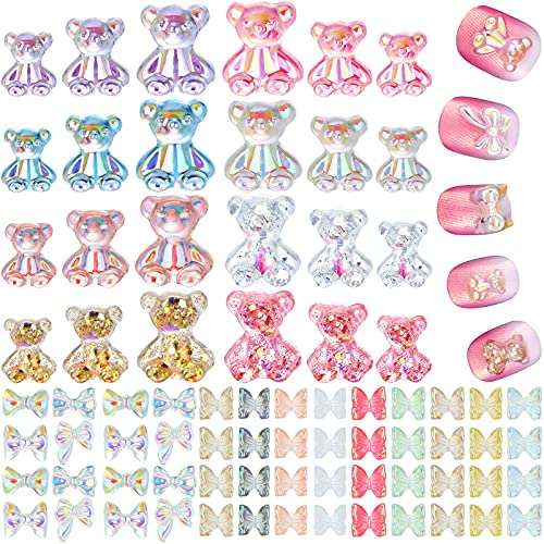130 Pieces Resin Bear Nail and 3D Acrylic Butterfly Charms for Nails in 3 Sizes Nails Accessories Cute DIY Bear Nail Colorful Butterfly Nail Design Crafting Decorations