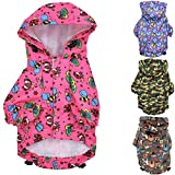 FunnyDogClothes for Small Pet Cat Dog Raincoat Hoodie Coat Waterproof Rain Jacket Rainwear (XS: Length - 10', Pink)