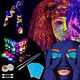 Lictin 43Pcs Pintura Corporal Pintura arte corporal UV Luz Negra Fosforescente maquillaje Arte maquillaje Fluorescente color maquillaje