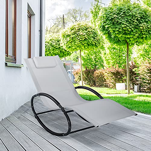 YOLANDA DIRECT Patio Rocking Chair Lounge Chair, with Detachable Headrest Pillow, Breathable Texteline Farbic, Zero Gravity Rocking Chaise, for Indoor and Outdoor Reclining Chairs (Light Grey