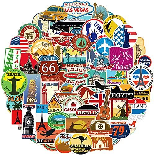 Ausikou Voyage Cartes Sticker Autocollant Ensemble 100 pièces, étiquettes...