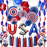 4th of July Decorations - Patriotic Decorations, American Party Supplies, 77 USA Party Supplies...