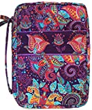 DIWI Quilted Bible Cover Large Sizes 10 X 7 X 2.75 Inches Good Book Case (L, C1 Purple Garden)