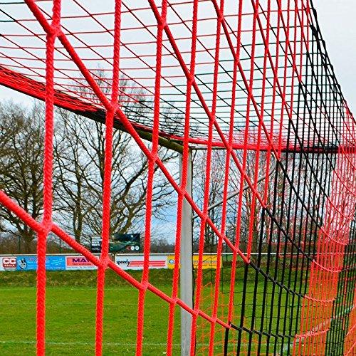 DONET Jugend - Fußballtornetz 5,15 x 2,05 m Tiefe Oben 0,80 / unten 1,50 m, zweifarbig, PP 4 mm ø, schwarz/rot