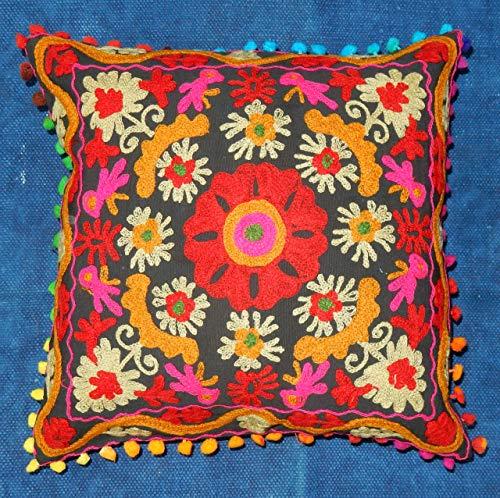 iinfinize - Federa copricuscino in 100% cotone Uzbek Suzani da 40,6 cm, quadrata, ricamata per divano, tradizionale cuscino per sedia, pom pom hippie vintage, decorazione per la casa