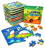 Vileafy Jigsaw Puzzles Party Favors for Boys & Girls, Wooden Puzzles for Kids Ages 3-5, 12-Pack with Individual Storage Tray & Organza Bag