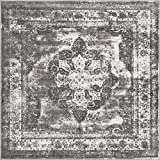 Unique Loom Sofia Collection Area Traditional Vintage Rug, French Inspired Perfect for All Home Décor, 6' 0 x 6' 0 Square, Gray/Light Gray