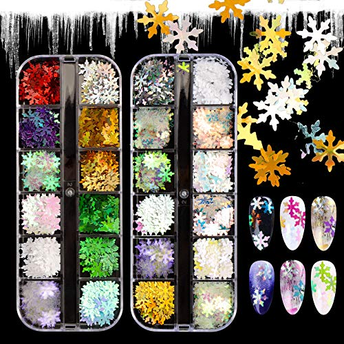 【The Newest 2020】2 Boxes Christmas Nail Glitters for Nail Art, 24 Shapes Nail Glitters Christmas Nail Art Supplies Snowflakes 3D Applique Nail Decoration Sticker for Tips Manicure Decor