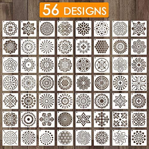 Outivity 56 Stück Mandala Schablonen zum Malen auf Holz, Stein, Stoffen,Metall,Möbeln und Wänden - Flexibel und Wiederverwendbar (9 cm x 9 cm)