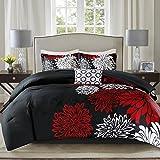 Comfort Spaces Enya Comforter Set-Modern Floral Design All Season Down Alternative Bedding, Matching Shams, Bedskirt, Decorative Pillows, King(104'x90'), Red/Black