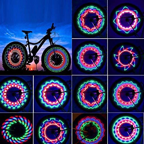 ROTTAY Luci Ruote Bici, Impermeabile Luci a LED per Bicicletta,32 LED, 32 Grafiche Diverse,ha...