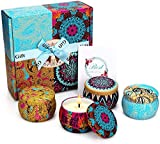 Yinuo Mirror Scented Candles Gift Set, Soy Wax 4.4 oz Portable Travel Tin Candles Women Gift for...