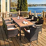 HAPPYGRILL 9-Piece Patio Dining Set Outdoor Rattan Wicker Dining Set with Cushions, Garden Dining Set with Acacia Wood Table Top & Armrest, Poly Rattan Dining Table Chairs Set