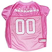 Satin and polyester mesh jersey with contrast neck and sleeve trim Front has embroidered NFL logo patch and screen printed team logo and city name Back has screen printed team word mark numbers and woven jock tag for personalization Rib-knit trim on ...